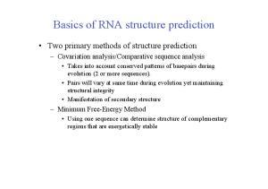Basics of RNA structure prediction