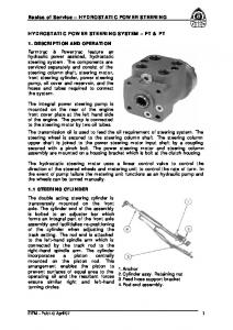 Basics of Service HYDROSTATIC POWER STEERING HYDROSTATIC POWER STEERING SYSTEM FT & PT