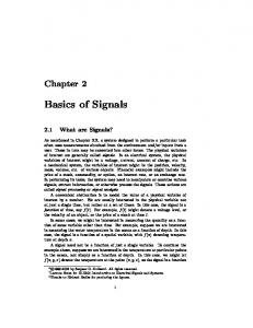 Basics of Signals. Chapter What are Signals?