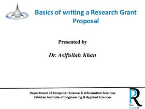 Basics of writing a Research Grant Proposal