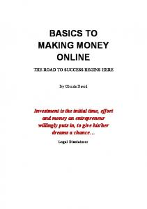 BASICS TO MAKING MONEY ONLINE