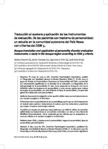 Basque translation and application of personality disorder evaluation instruments: a study in the basque region according to DSM 5 criteria