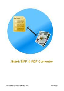 Batch TIFF & PDF Converter