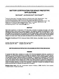 BATTERY CERTIFICATION FOR SPACE PROTOTYPE APPLICATIONS
