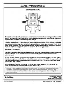 BATTERY DISCONNECT SERVICE MANUAL
