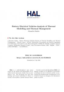 Battery Electrical Vehicles-Analysis of Thermal Modelling and Thermal Management