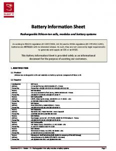 Battery Information Sheet