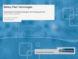 Battery Plant Technologies