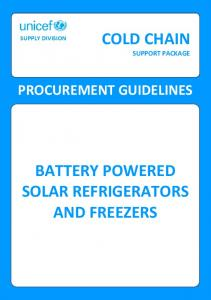 BATTERY POWERED SOLAR REFRIGERATORS AND FREEZERS