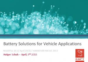 Battery Solutions for Vehicle Applications
