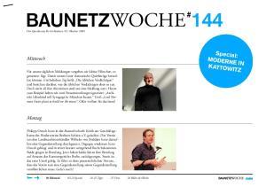 BAUNETZWOCHE # 144. Special: Moderne in. Mittwoch. Montag