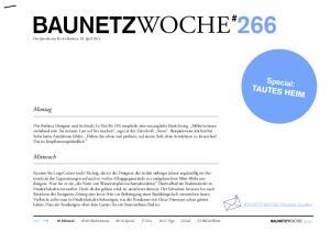 BAUNETZWOCHE # 266. Special: TAUTES HEIM. Montag. Mittwoch