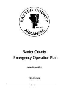 Baxter County Emergency Operation Plan