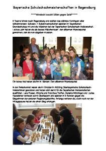 Bayerische Schulschachmeisterschaften in Regensburg