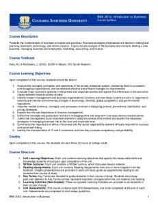 BBA 2010, Introduction to Business Course Syllabus. Course Description. Course Textbook. Course Learning Objectives. Credits