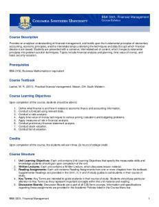 BBA 3301, Financial Management Course Syllabus. Course Description. Prerequisites. Course Textbook. Course Learning Objectives