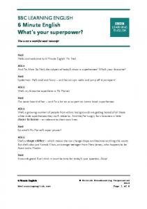 BBC LEARNING ENGLISH 6 Minute English What's your superpower?