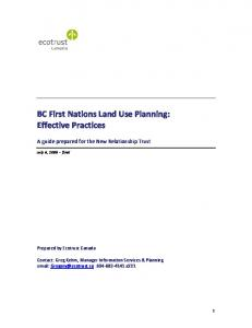 BC First Nations Land Use Planning: Effective Practices