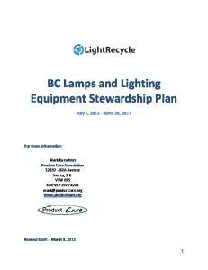 BC Lamps and Lighting Equipment Stewardship Plan