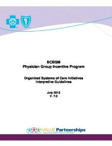 BCBSM Physician Group Incentive Program