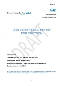 BCG VACCINATION POLICY FOR CROYDON