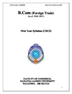 B.Com (Foreign Trade) (w.e.f )