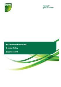 BCS Membership and HEQ