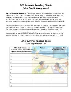 BCS Summer Reading Plan & Extra Credit Assignment