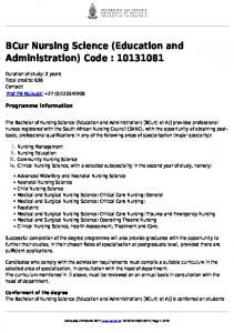 BCur Nursing Science (Education and Administration) Code :