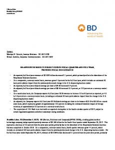 BD ANNOUNCES RESULTS FOR 2017 FOURTH FISCAL QUARTER AND FULL YEAR; PROVIDES FISCAL 2018 GUIDANCE