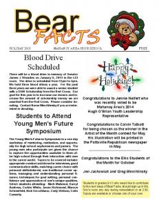 Bear FACTS. Blood Drive Scheduled. Students to Attend Young Men s Future Symposium