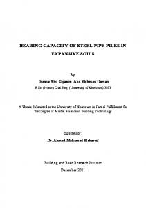 BEARING CAPACITY OF STEEL PIPE PILES IN EXPANSIVE SOILS