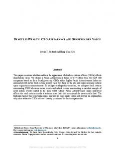 BEAUTY IS WEALTH: CEO APPEARANCE AND SHAREHOLDER VALUE