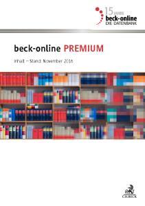 beck-online PREMIUM Inhalt Stand: November 2016