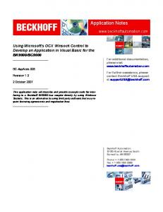 BECKHOFF. Application Notes
