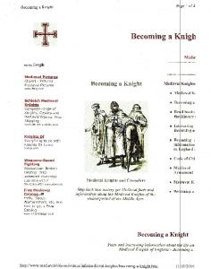 Becoming a Knight Medieva Knights. Medieval Knights and Crusaders