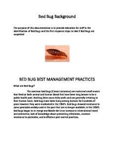 Bed Bug Background BED BUG BEST MANAGEMENT PRACTICES