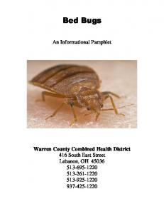 Bed Bugs. An Informational Pamphlet