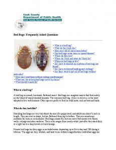 Bed Bugs: Frequently Asked Questions