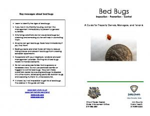 Bed Bugs. Key messages about bed bugs. Inspection Prevention Control. A Guide for Property Owners, Managers, and Tenants
