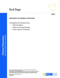 Bed Bugs UHN. Information for patients and families
