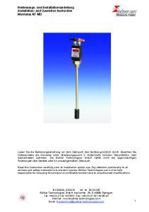 Bedienungs- und Installationsanleitung Installation- and Operation Instruction Nivotemp NT-MD