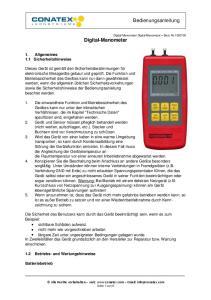 Bedienungsanleitung. Digital-Manometer. 1. Allgemeines 1.1 Sicherheitshinweise