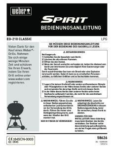 BEDIENUNGSANLEITUNG EO-210 CLASSIC LPG 845CN-0003