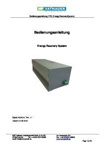 Bedienungsanleitung ERS (EnergyRecoverySystem) Bedienungsanleitung. Energy Recovery System