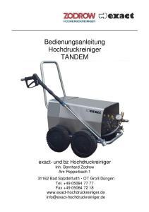 Bedienungsanleitung Hochdruckreiniger TANDEM