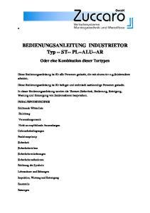 BEDIENUNGSANLEITUNG INDUSTRIETOR Typ -- ST-- PL--ALU--AR