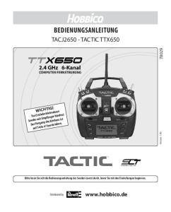 BEDIENUNGSANLEITUNG TACJ TACTIC TTX650.  WICHTIG!