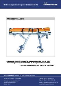 Bedienungsanleitung und Ersatzteilliste FAHRGESTELL 2870