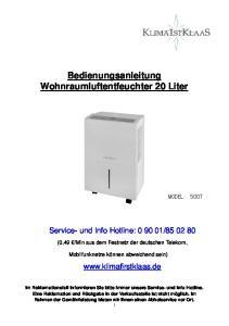Bedienungsanleitung Wohnraumluftentfeuchter 20 Liter